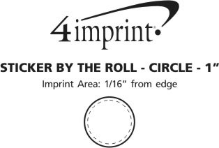 Imprint Area of Sticker by the Roll - Circle - 1""