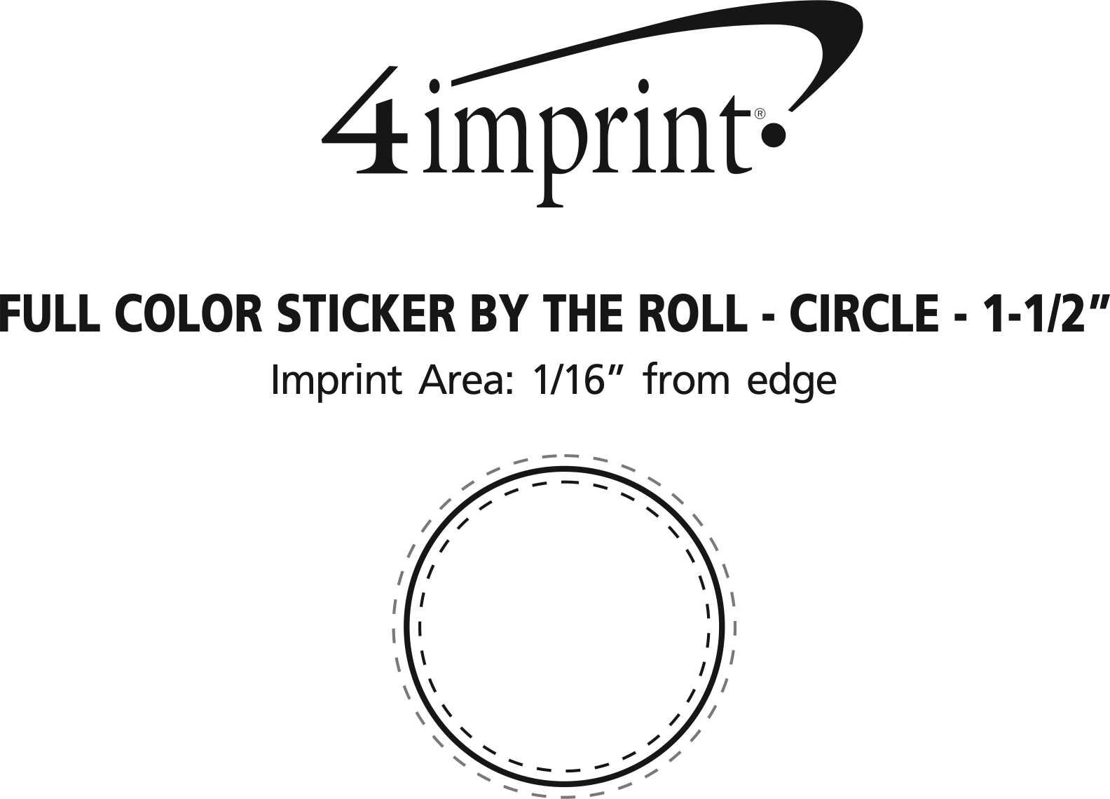 """Imprint Area of Full Color Sticker by the Roll - Circle - 1-1/2"""""""