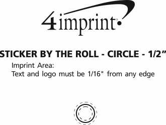 """Imprint Area of Sticker by the Roll - Circle - 1/2"""""""