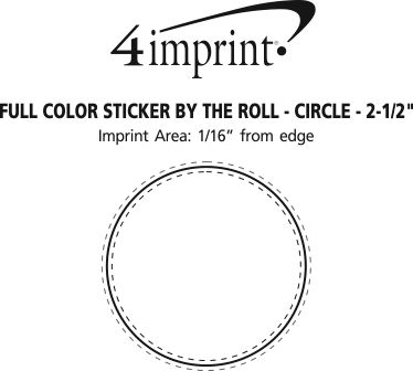 """Imprint Area of Full Color Sticker by the Roll - Circle - 2-1/2"""""""