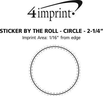 """Imprint Area of Sticker by the Roll - Circle - 2-1/4"""""""