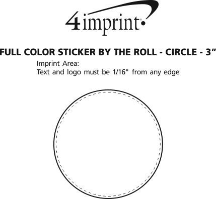 """Imprint Area of Full Color Sticker by the Roll - Circle - 3"""""""