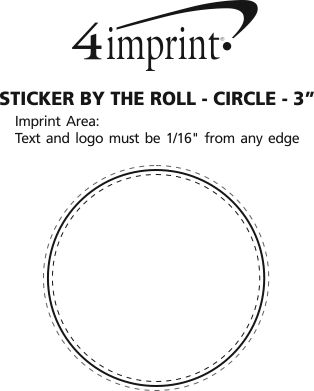 """Imprint Area of Sticker by the Roll - Circle - 3"""""""