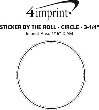 """Imprint Area of Sticker by the Roll - Circle - 3-1/4"""""""