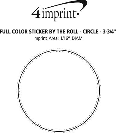 """Imprint Area of Full Color Sticker by the Roll - Circle - 3-3/4"""""""