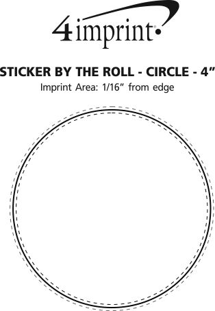 """Imprint Area of Sticker by the Roll - Circle - 4"""""""
