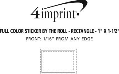 "Imprint Area of Full Color Sticker by the Roll - Rectangle - 1"" x 1-1/2"""