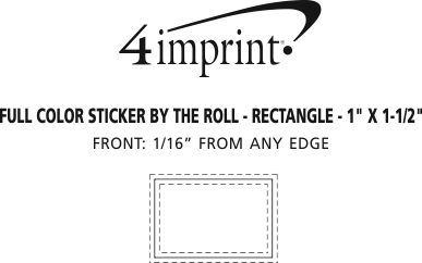 "Imprint Area of Sticker by the Roll - Rectangle - 1"" x 1-1/2"""