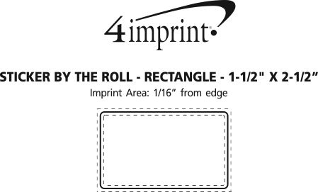 """Imprint Area of Sticker by the Roll - Rectangle - 1-1/2"""" x 2-1/2"""