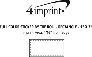 """Imprint Area of Full Color Sticker by the Roll - Rectangle - 1"""" x 2"""""""