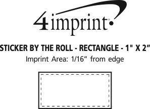 "Imprint Area of Sticker by the Roll - Rectangle - 1"" x 2"""