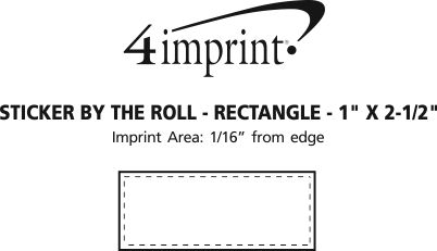 """Imprint Area of Sticker by the Roll - Rectangle - 1"""" x 2-1/2"""""""