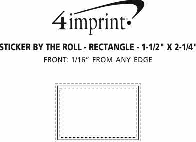 "Imprint Area of Sticker by the Roll - Rectangle - 1-1/2"" x 2-1/4"""