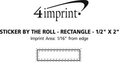"""Imprint Area of Sticker by the Roll - Rectangle - 1/2"""" x 2"""""""