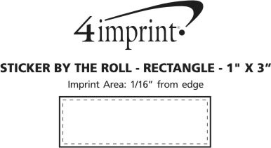 """Imprint Area of Sticker by the Roll - Rectangle - 1"""" x 3"""""""