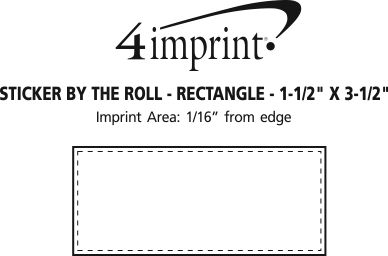 """Imprint Area of Sticker by the Roll - Rectangle - 1-1/2"""" x 3-1/2"""""""