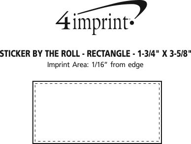 """Imprint Area of Sticker by the Roll - Rectangle - 1-3/4"""" x 3-5/8"""""""