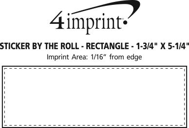 """Imprint Area of Sticker by the Roll - Rectangle - 1-3/4"""" x 5-1/4"""""""