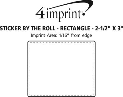 """Imprint Area of Sticker by the Roll - Rectangle - 2-1/2"""" x 3"""""""