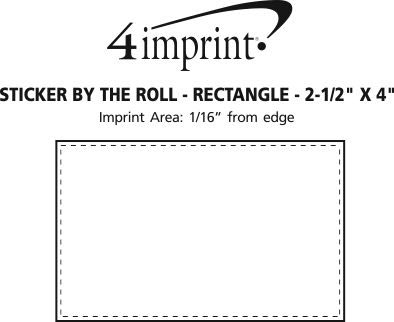"Imprint Area of Sticker by the Roll - Rectangle - 2-1/2"" x 4"""