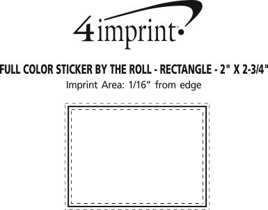 """Imprint Area of Sticker by the Roll - Rectangle - 2"""" x 2-3/4"""""""