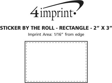 """Imprint Area of Sticker by the Roll - Rectangle - 2"""" x 3"""""""