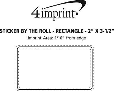 """Imprint Area of Full Color Sticker by the Roll - Rectangle - 2"""" x 3-1/2"""""""