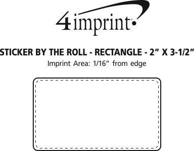 "Imprint Area of Sticker by the Roll - Rectangle - 2"" x 3-1/2"""