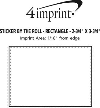 """Imprint Area of Sticker by the Roll - Rectangle - 2-3/4"""" x 3-3/4"""""""