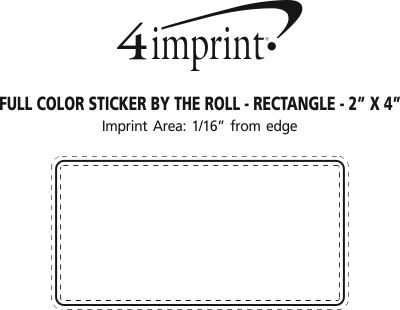 """Imprint Area of Full Color Sticker by the Roll - Rectangle - 2"""" x 4"""""""