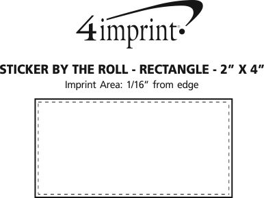 "Imprint Area of Sticker by the Roll - Rectangle - 2"" x 4"""