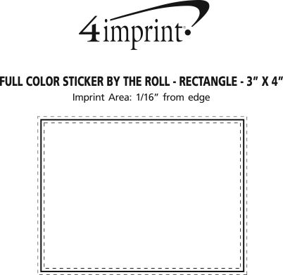 """Imprint Area of Full Color Sticker by the Roll - Rectangle - 3"""" x 4"""""""