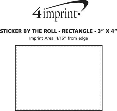 "Imprint Area of Sticker by the Roll - Rectangle - 3"" x 4"""