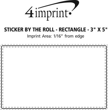 """Imprint Area of Sticker by the Roll - Rectangle - 3"""" x 5"""""""