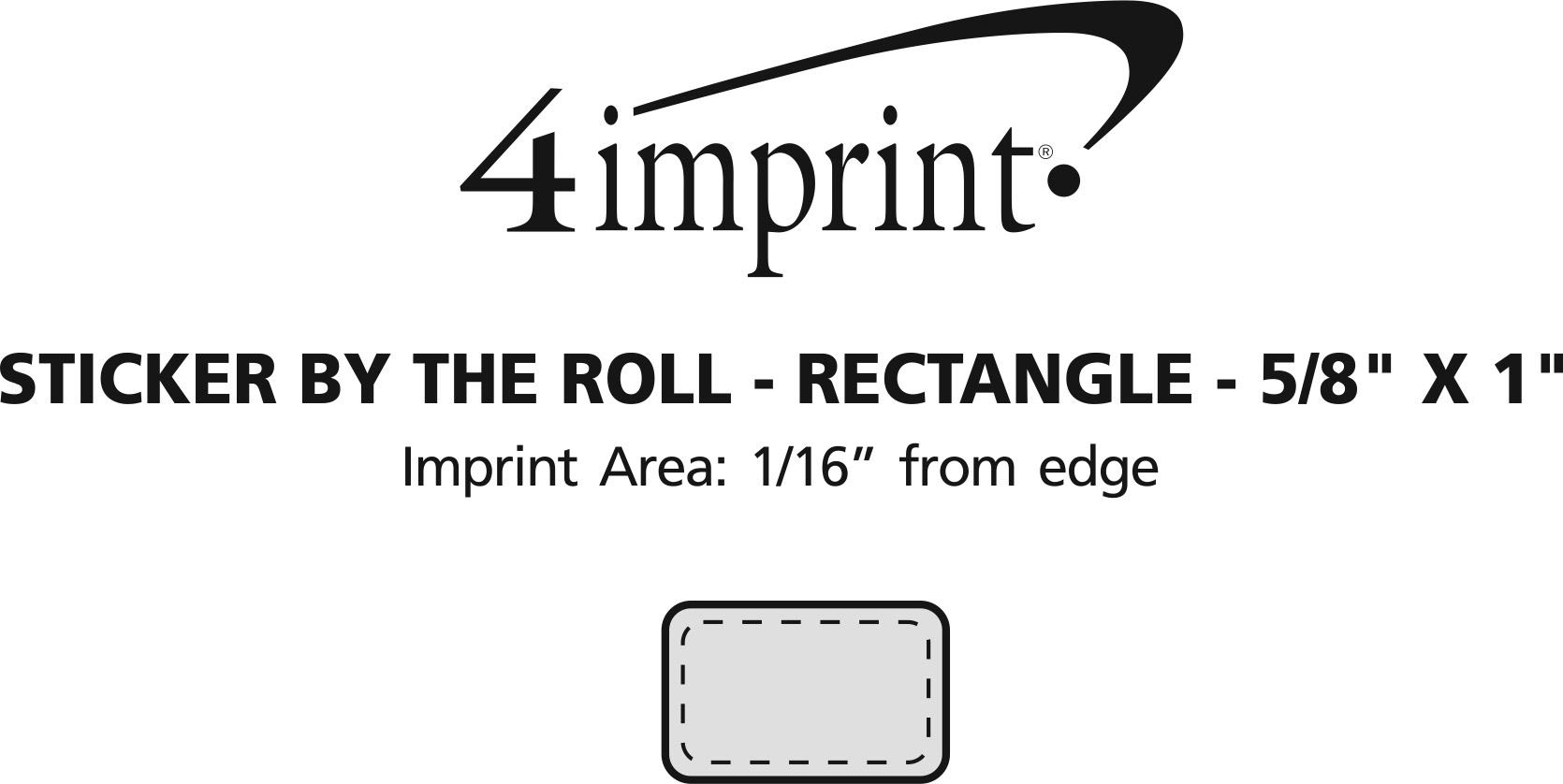 """Imprint Area of Sticker by the Roll - Rectangle - 5/8"""" x 1"""""""
