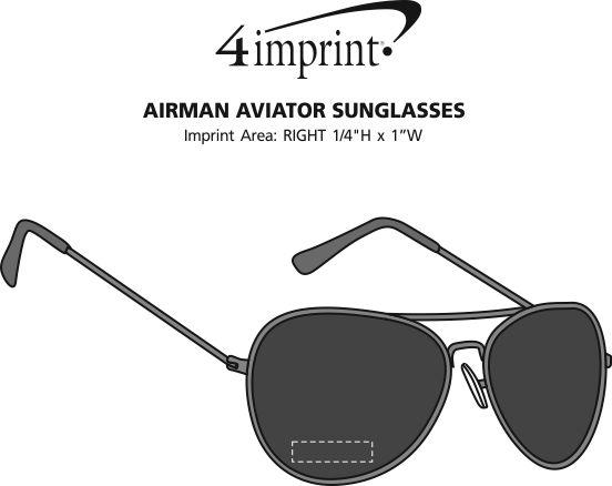 Imprint Area of Airman Aviator Sunglasses