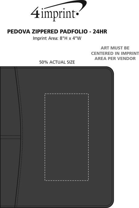 Imprint Area of Pedova Zippered Padfolio - 24 hr