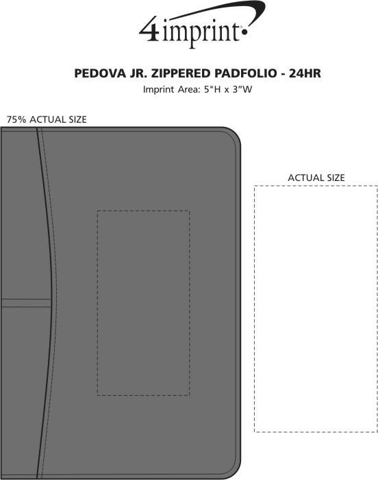 Imprint Area of Pedova Jr. Zippered Padfolio - 24 hr