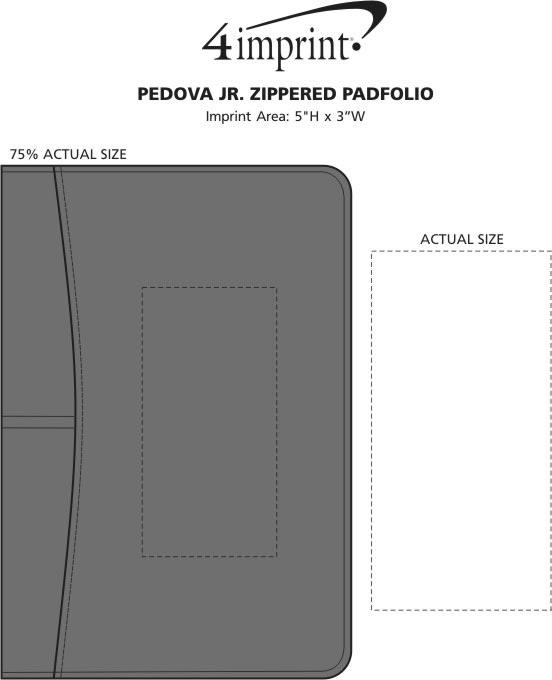 Imprint Area of Pedova Jr. Zippered Padfolio
