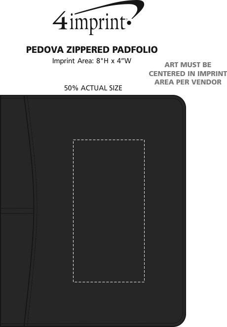 Imprint Area of Pedova Zippered Padfolio