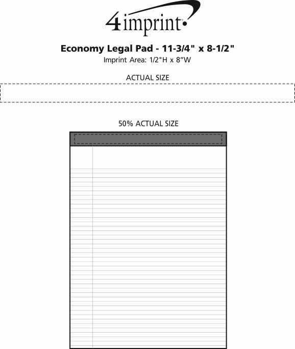 "Imprint Area of Economy Legal Pad - 11-3/4"" x 8-1/2"""