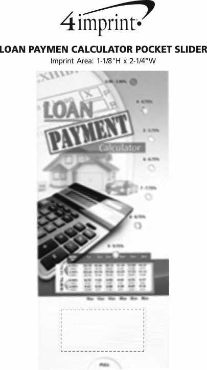 Imprint Area of Loan Payment Calculator Pocket Slider