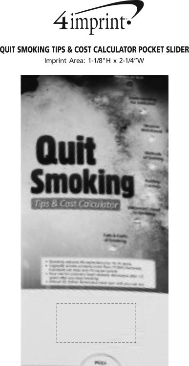Imprint Area of Quit Smoking Tips & Cost Calculator Pocket Slider