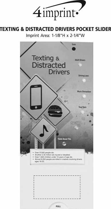 Imprint Area of Texting & Distracted Drivers Pocket Slider