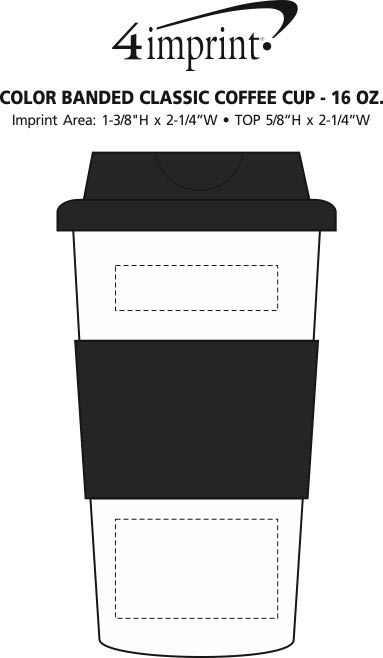 Imprint Area of Color Banded Classic Coffee Cup - 16 oz.