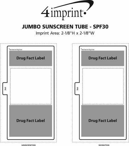 Imprint Area of Jumbo Sunscreen Tube - SPF30