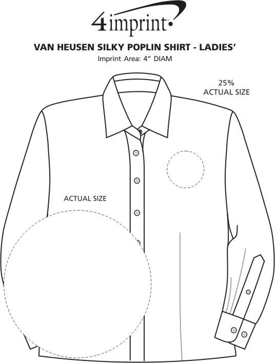 Imprint Area of Van Heusen Silky Poplin Shirt - Ladies'