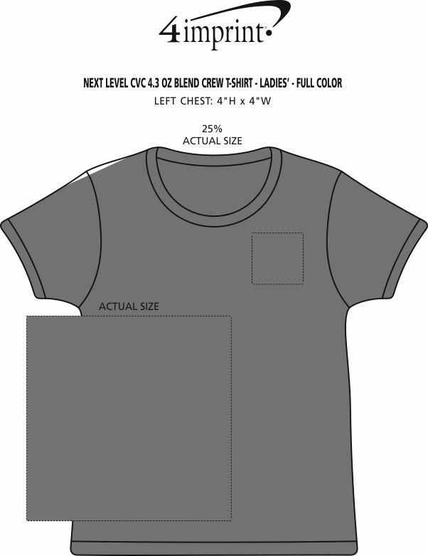 Imprint Area of Next Level CVC Blend Crew T-Shirt - Ladies' - Full Color