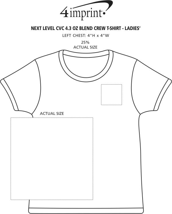 Imprint Area of Next Level CVC Blend Crew T-Shirt - Ladies'