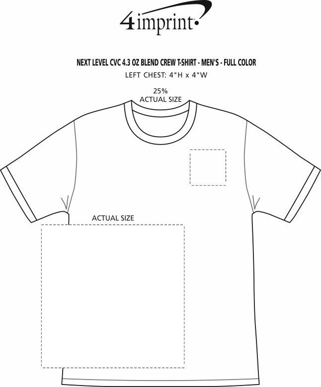 Imprint Area of Next Level CVC Blend Crew T-Shirt - Men's - Full Color